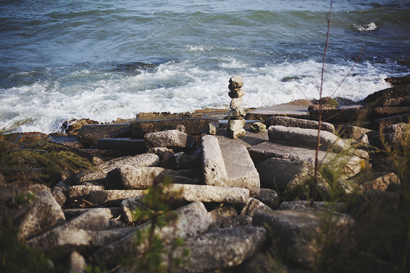 stack of rocks by the water